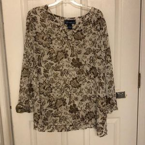 Susan Graver Sheer Beige/Brown Floral Blouse
